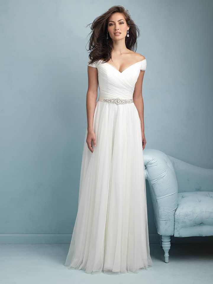 שמלת כלה משיפון עם כתפיים חשופות