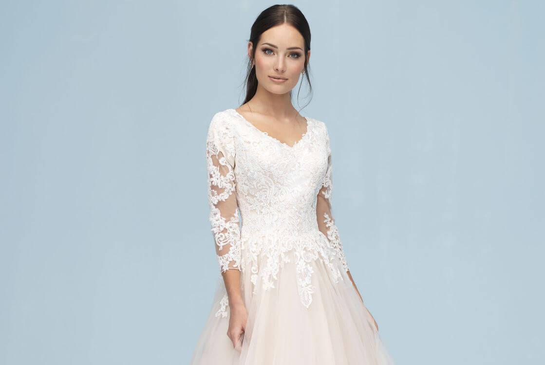 שמלת כלה צנועה קלאסית עם שרוולים